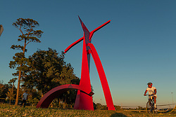 """A Painted Steal statue titled """"Houston"""" by Mac Whitney 1981. The statue is 50'T by 37'W by 24'D"""