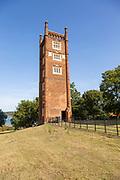 Freston Tower, a six-storey red brick Tudor folly built in 1570s, near Ipswich, Suffolk, England, UK