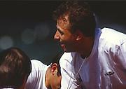 Lucerne, SWITZERLAND. [ITA M2+ cox Giuseppe di CAPUA, Bow. Carmine ABBAGNALE and  Giuseppe ABBAGNALE 1988  Lucerne International Regatta, Lake Rotsee. June 1988 [Mandatory Credit - Peter Spurrier/Intersport Images] 1988 Lucerne International Regatta