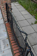 Railings made from World War 2 stretchers on the 24th September 2019 in London in the United Kingdom. The WW2 stretchers were once used to carry thousands of wounded civilians in the Blitz. The so-called stretcher fences can be found on estates in Peckham, Brixton, Deptford, Oval and East London.