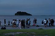 evening gathering at Umikaze park, Yokosuka with Tokyo Bay and Sarushima Island