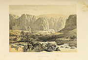 Petra, Jordan from The Holy Land: Syria, Idumea, Arabia, Egypt & Nubia by Roberts, David, (1796-1864) Engraved by Louis Haghe. Volume 3. Book Published in 1855 by D. Appleton & Co., 346 & 348 Broadway in New York.