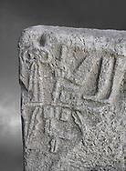 Hittite Hieroglyphic panel from Hittite capital Hattusa, Hittite New Kingdom 1450-1200 BC, Bogazkale archaeological Museum, Turkey. Grey background