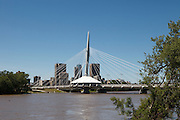 Saint-Boniface / Broadway Bridge with Winnipeg city scape, Canada.