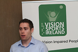 """PRESS RELEASE <br />Jason Smyth and Minister Leo Varadkar launch Vision Sports Ireland.  <br />Thursday, 19 September, Dublin.<br />Four time Paralympic gold medallist and World Champion, Jason Smyth, and Minister for Transport, Tourism & Sport, Leo Varadkar, today launched Vision Sports Ireland at a reception in central Dublin. Formerly Irish Blind Sports, the organisation has been renamed and rebranded to mark its 25th anniversary and to reflect the needs of its members. <br /><br />Pictured at the  launched Vision Sports Ireland at a reception in central Dublin. Formerly Irish Blind Sports, the organisation has been renamed and rebranded to mark its 25th anniversary and to reflect the needs of its members.<br /><br />Jason Smyth, Paralympic Double Gold Sprinter.<br /><br />Speaking at the opening Minister Varadkar said: """"This is the start of a new era for vision impaired sports people in Ireland and I congratulate Vision Sports Ireland for reaching out to the community. Sport can, and should, be open to everyone, and I know that this organisation is striving to provide access to activities right across the country. The Government continues to support this area and awarded €36,000 to Vision Sports Ireland through the Sports Council this year, in addition to support for elite athletes through Paralympics Ireland.""""<br />Vision Sports Ireland assists vision impaired people in Ireland, of all ages, to access sports at all levels, from leisure to elite, in their own communities where possible. The Organisation offers a range of sports, including tandem cycling, football, swimming, golf and athletics and hosts, both,  national and international competitions. <br />Senator Eamonn Coghlan, a valued supporter of Vision Sports Ireland, former three time Olympian and World athletics 5000m champion,  presided over the event declaring in his opening that """"today is a great day for the vision impaired people of Ireland.""""<br />Jason Smyth, a long-time Vision Sports Ireland member"""