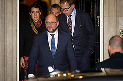 © Licensed to London News Pictures. 04/02/2016. London, UK. President of the European Parliament MARTIN SHULZ leaving number 10 Downing Street after a meeting with British prime minister DAVID CAMERON  as negotiations continue to finalise details of an EU reform. Photo credit: Ben Cawthra/LNP
