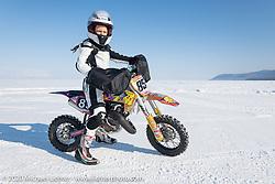 7-year old Silvia Pavlova on her Husqvarna TC50 at the Baikal Mile Ice Speed Festival. Maksimiha, Siberia, Russia. Friday, February 28, 2020. Photography ©2020 Michael Lichter.