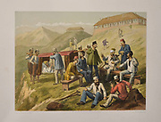 Wounded men at Dugahal Lithograph from the book Campaign in India 1857-58 Illustrating the military operations before Delhi ; 26 Hand coloured Lithographed plates. by George Francklin Atkinson Published by Day & Son Lithographers to the Queen in 1859
