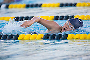 Swimmers race during the Milpitas High School swim meet against Newark Memorial at Milpitas High School in Milpitas, California, on February 27, 2015. (Stan Olszewski/SOSKIphoto)