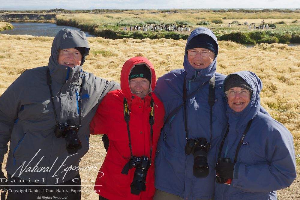 Ray, Gay, John and Shirley at the King Penguin rookery in Chile. Patagonia