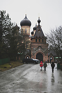 Kuremäe, Estonia - February 22, 2020: The Kuremäe Convent, also called the Pühtitsa Convent, was established in 1891, and is the only functioning Russian Orthodox nunnery in Estonia.