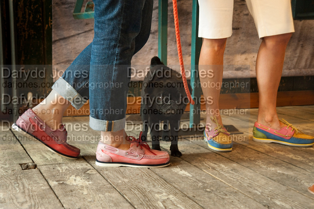 MINNIE THE PUG FROM ART WEDNESDAY, Design Your Own Timberland breakfast and Autumn/ Winter 2011 preview. Timberland. 1 Fournier St. London. Followed by an art tour by Julia Royce. 8 June 2011. <br /> <br />  , -DO NOT ARCHIVE-© Copyright Photograph by Dafydd Jones. 248 Clapham Rd. London SW9 0PZ. Tel 0207 820 0771. www.dafjones.com.