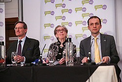 March 27, 2019 - London, UK, United Kingdom - Conservative former Attorney General (L), Dominic Grieve MP - Labour former Foreign Secretary (C), Margaret Beckett MP - SNP Foreign Affairs and Europe (R) Stephen Gethins are seen at a People's Vote press conference in Westminster setting out an analysis of the different Brexit options facing Members of Parliament in indicative votes. .British Prime Minister Theresa May told the backbench Tory MPs this evening that she will stand down if they back her EU withdrawal deal. (Credit Image: © Dinendra Haria/SOPA Images via ZUMA Wire)
