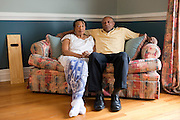Johnny Lewis and his wife Shirley pose for a photo at their home in Fort Worth, Texas on April 21, 2014. Johnny is the caretaker for Shirley who has been diagnosed with ALS. (Cooper Neill / for AARP)