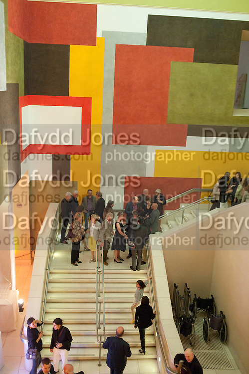 David Tremlett'S wall PAINTING for Tate Britain's Manton staircase , John Martin: Apocalypse. Tate Britain. Millbank. London. 19 September 2011.<br /> <br />  , -DO NOT ARCHIVE-© Copyright Photograph by Dafydd Jones. 248 Clapham Rd. London SW9 0PZ. Tel 0207 820 0771. www.dafjones.com.