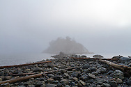 Fog nearly hides the island at Whytecliff Park in West Vancouver, British Columbia, Canada.