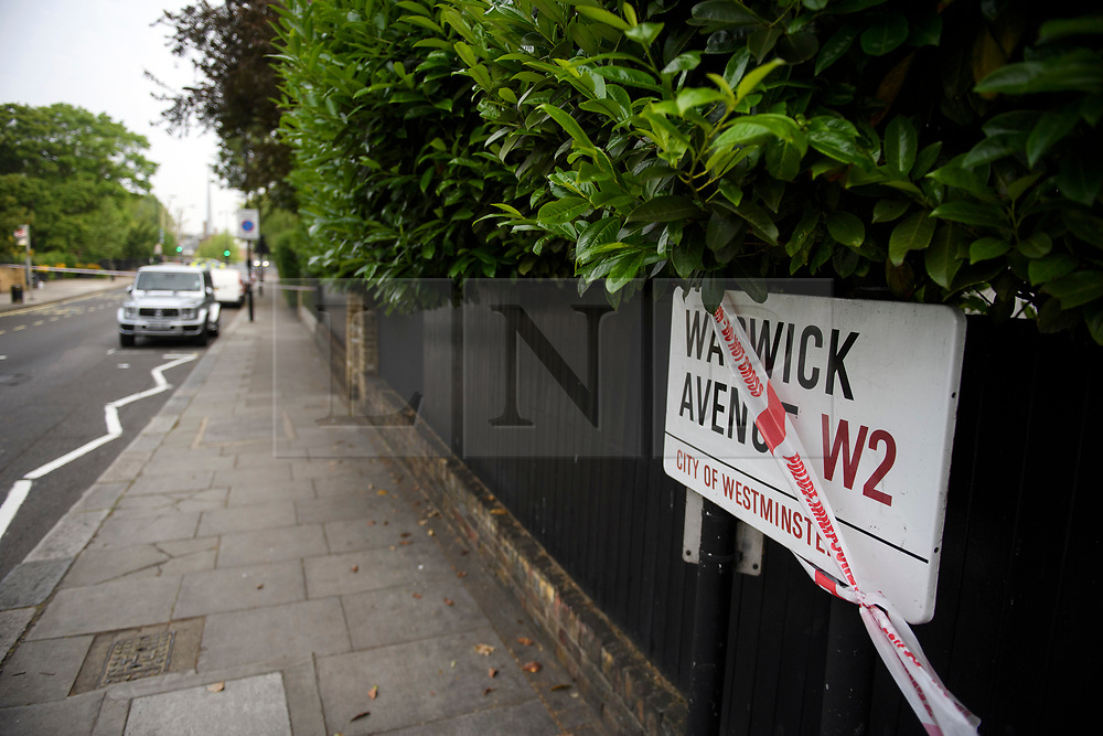 © Licensed to London News Pictures. 20/05/2019. London, UK. A police cordon at the scene in Little Venice, West London where a teenager has been repeatedly stabbed. Police were called to Warwick Avenue following a disturbance yesterday evening. The young man is currently in what has been described as life threatening condition. Photo credit: Ben Cawthra/LNP