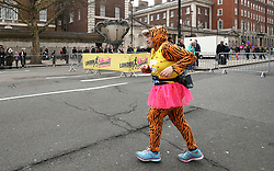 A runner in fancy dress during the 2018 London Landmarks Half Marathon. PRESS ASSOCIATION Photo. Picture date: Sunday March 25, 2018. Photo credit should read: Steven Paston/PA Wire