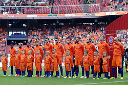 (l-r) Quincy Promes of Holland, Tonny Vilna of Holland, Georginio Wijnaldum of Holland, Kenny Tete of Holland, Wesley Hoedt of Holland, Stefan de Vrij of Holland, Vincent Janssen of Holland, Davy Propper of Holland, Daley Blind of Holland, goalkeeper Jasper Cillessen of Holland, Arjen Robben of Holland during the FIFA World Cup 2018 qualifying match between The Netherlands and Bulgariaat the Amsterdam Arena on September 03, 2017 in Amsterdam, The Netherlands