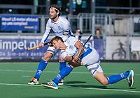 AMSTELVEEN -Sander de Wijn (Kampong)  neemt de stracorner en scoort 2-4, links Lars Balk (Kampong)    tijdens   hoofdklasse hockeywedstrijd mannen, Pinoke-Kampong (2-5) . COPYRIGHT KOEN SUYK