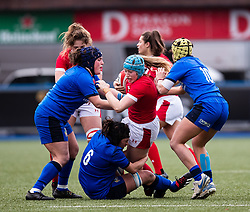 Gwen Crabb of Wales is tackled by Ilaria Arrighetti of Italy<br /> <br /> Photographer Simon King/Replay Images<br /> <br /> Six Nations Round 1 - Wales Women v Italy Women - Saturday 2nd February 2020 - Cardiff Arms Park - Cardiff<br /> <br /> World Copyright © Replay Images . All rights reserved. info@replayimages.co.uk - http://replayimages.co.uk