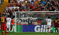 Photo: Glyn Thomas.<br />Portugal v Iran. Group D, FIFA World Cup 2006. 17/06/2006.<br /> Portugal's Cristiano Ronaldo (obscured) scores his side's second goal from the penalty spot.