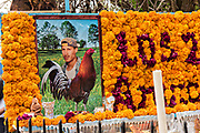 A gravesite of two brothers who died the same day decorated with marigolds, red cockscomb and bananas for the Day of the Dead festival October 31, 2017 in Tzintzuntzan, Michoacan, Mexico.