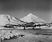 """0402-01 Military R5D """"Skmaster"""" turning up for takeoff at Kodiak, Alaska. The R5D was a military version of the DC4. ca. 1944-45"""