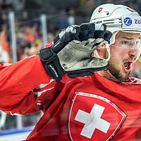 19.05.2018; Kopenhagen; EISHOCKEY WM2018 - Canada - Switzerland; <br /> Tristan Scherwey (SUI) jubelt nach dem Tor zum 0:1 <br /> (Andy Mueller/freshfocus)