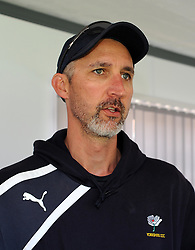 Yorkshire's Head Coach Jason Gillespie addresses the media. Photo mandatory by-line: Harry Trump/JMP - Mobile: 07966 386802 - 25/05/15 - SPORT - CRICKET - LVCC County Championship - Division 1 - Day 2- Somerset v Sussex Sharks - The County Ground, Taunton, England.