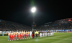 MARSEILLE, FRANCE - Tuesday, December 11, 2007: Liverpool and Olympique de Marseille players line-up before the final UEFA Champions League Group A match at the Stade Velodrome. (Photo by David Rawcliffe/Propaganda)