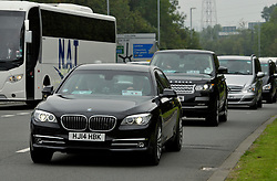 © Licensed to London News Pictures. 04/09/2014. Bristol, UK.  Police convoy of visiting heads of state and officials  arriving at the entrance to Celtic Manor at the NATO summit being held at The Celtic Manor resort at Newport. Photo credit : Simon Chapman/LNP