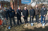 DOYLESTOWN, PA - MARCH 24:  Bucks County Commisioner Charles Martin (C) along with retired and active military personnel break ground during the Groundbreaking for the Global War on Terrorism memorial March 24, 2014 in Doylestown, Pennsylvania. (Photo by William Thomas Cain/Cain Images)