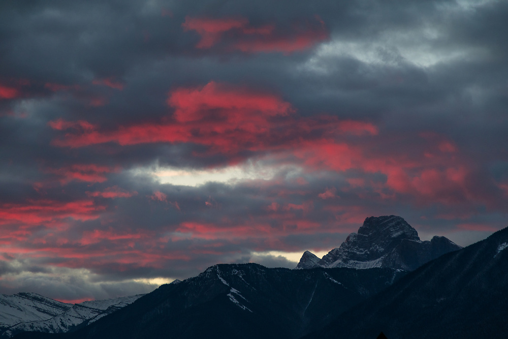 An outstanding sunrise in Canmore, Alberta on Remembrance day 2017