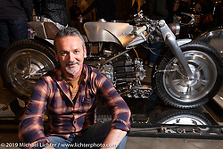 Custom bike builder Don Cronin of Medaza Cycles in County Cork, Ireland with his Rondine, a customized 1974 Moto Guzzi Nuovo Falcone flat single over-bored to 580cc. This bike was purchased by the Haas Moto Museum for display in their Dallas museum and displayed for the weekend here at the Handbuilt Show. Austin, Texas USA. Saturday, April 13, 2019. Photography ©2019 Michael Lichter.