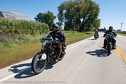 Buck Carson riding his 1925 Harley-Davidson in the Motorcycle Cannonball coast to coast vintage run. Stage 6 (260 miles) from Bourbonnais, IL to Cedar Rapids, IA. Thursday September 13, 2018. Photography ©2018 Michael Lichter.