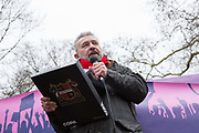 Ian Feeley, Sheffield FC supporters ambassador, speaks to fans and supporters of Dulwich Hamlet Football Club during a protest march from Goose Green to Champion Hill on 17th March 2018 in South London in the United Kingdom. The non-league, South London, club is gaining popularity following recent eviction by Meadow Residential, an American property investment fund, who want to turn the clubs ground, Champion Hill, into luxury flats. .