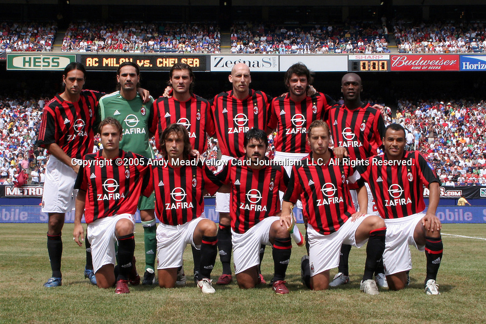 31 July 2005: AC Milan's starters pose for a team photo before the game. Chelsea FC of England and AC Milan of Spain tied 1-1 at Giants Stadium in East Rutherford, New Jersey in an international friendly soccer match as part of AEG's 2005 World Series of Football. .