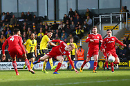 Burton Albion midfielder Scott Fraser (7) scores a goal 1-2 during the EFL Sky Bet League 1 match between Burton Albion and Accrington Stanley at the Pirelli Stadium, Burton upon Trent, England on 23 March 2019.