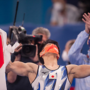 TOKYO, JAPAN - JULY 28: Daiki Hashimoto of Japan reacts as his final score comes through to confirm him as the gold medal winner during the Men's All Round competition at Ariake Gymnastics Centre at the Tokyo 2020 Summer Olympic Games on July 28, 2021 in Tokyo, Japan. (Photo by Tim Clayton/Corbis via Getty Images)