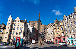 View of historic buildings at Grassmarket in Edinburgh Old Town, Scotland, UK
