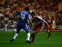 Photo: Andrew Unwin.<br /> Middlesbrough v Chelsea. The Barclays Premiership. 23/08/2006.<br /> Middlesbrough's Stewart Downing (C) leads an early attack.