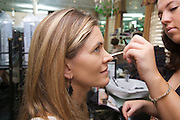 Model gets ready for a beauty shoot, Sydney.