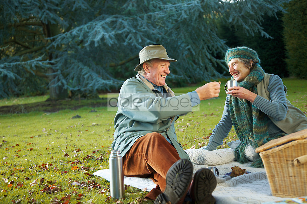 Senior couple picnicking in a park