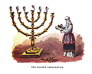 The Golden Candlestick From the book ' Pictorial Description Of The Tabernacle in the Wilderness: Its Rites and Ceremonies ' A detailed description and pictorial guide of the Tabernacle as described in the Old Testament book of Exodus in the Bible, containing many colored illustrated pictures. by John Dilworth. Published by The Sunday School Union, London in 1878