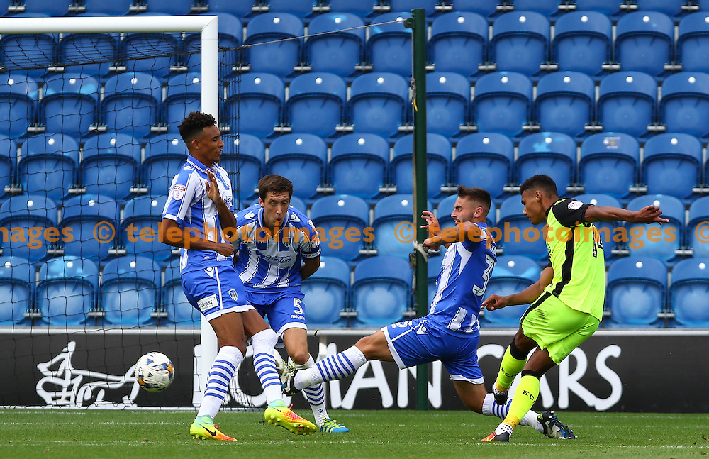 Ollie Wilkins of Exeter City scores during the Sky Bet League 2 match between Colchester United and Exeter City at the Weston Homes Community Stadium in Colchester. September 3, 2016.<br /> Arron Gent / Telephoto Images<br /> +44 7967 642437