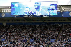 The big screen during the two minutes silence before the match at the King Power Stadium to commemorate Remembrance Day and in honour of Leicester City.