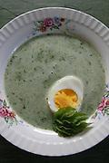 Spring food: Nettlesoup with egg. Neslesuppe med egg pluss et blad nyutsprunget skvalderkål.