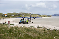 Barra airport, situated in the wide shallow bay of Traigh Mhòr at the north tip of the island of Barra in the Outer Hebrides, Scotland.