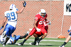22 October 2011: Donovan Harden cuts left to maneuver around Garrick Dikos during an NCAA football game  the Indiana State Sycamores lost to the Illinois State Redbirds (ISU) 17-14 at Hancock Stadium in Normal Illinois.